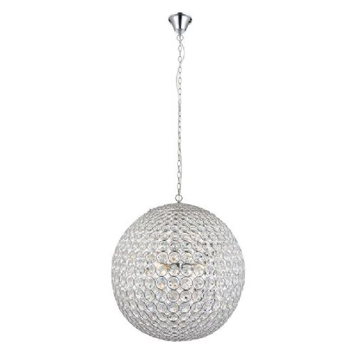 Clear crystal (k9) glass detail & chrome effect plate Pendant Light 66190 by Endon